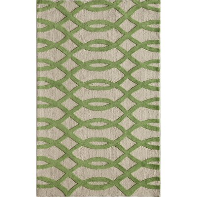 Hand-Tufted Lime/Cream Area Rug Rug Size: 76 x 96