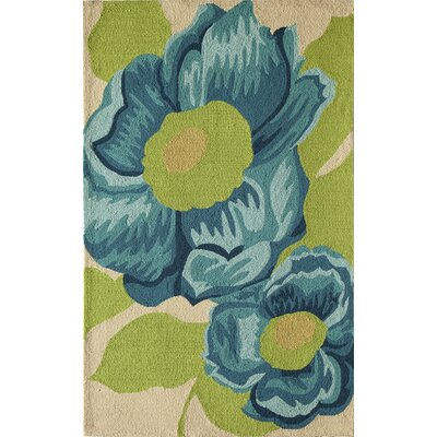 Light Blue/Green Indoor/Outdoor Area Rug Rug Size: 26 x 36