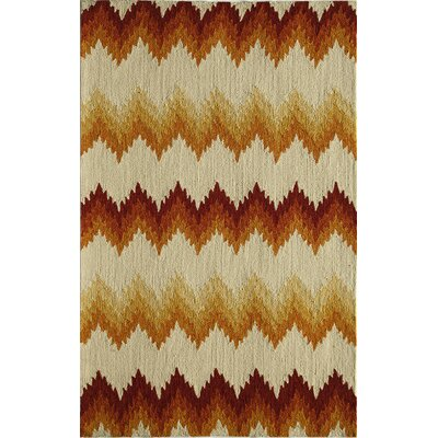 Ivory/Rust Indoor/Outdoor Area Rug Rug Size: 76 x 96