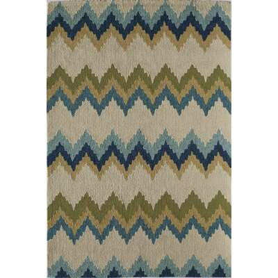 Ivory/Light Blue Indoor/Outdoor Area Rug Rug Size: 26 x 36