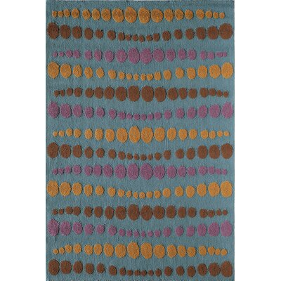 Light Blue/Brown Indoor/Outdoor Area Rug Rug Size: 26 x 36