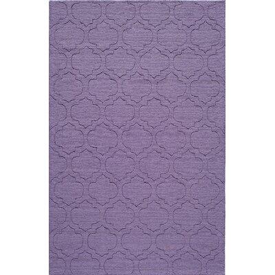 Hand-Hooked Purple Area Rug Rug Size: 5 x 8
