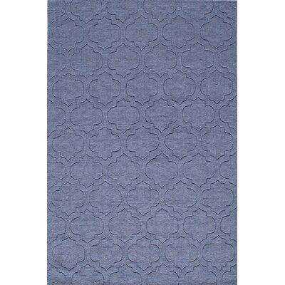 Hand-Hooked Denim Blue Area Rug Rug Size: 5 x 8