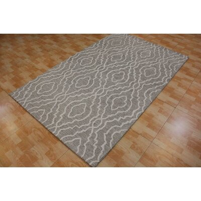 Hand-Tufted Gray Area Rug Rug Size: 5 x 8