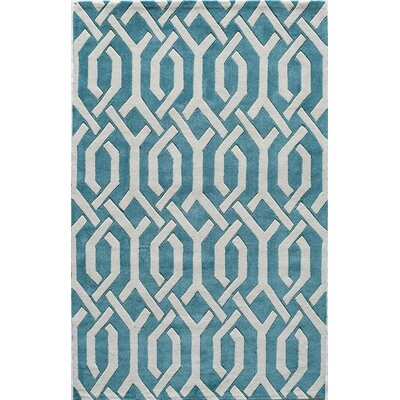 Hand-Tufted Aqua Area Rug Rug Size: Rectangle 8 x 10