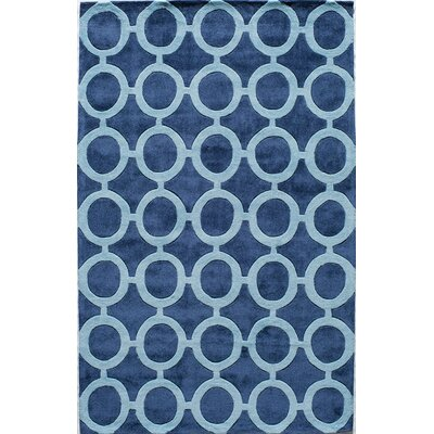 Hand-Tufted Royal Blue Area Rug Rug Size: Rectangle 5 x 8