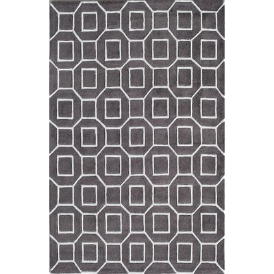 Hand-Tufted Grey Area Rug Rug Size: Rectangle 8 x 10