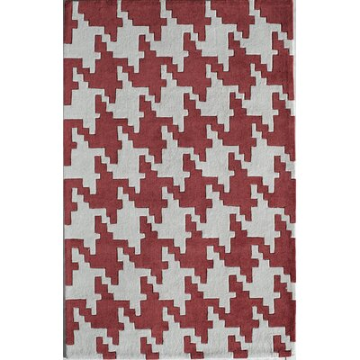 Hand-Tufted Red Area Rug Rug Size: Rectangle 2 x 3