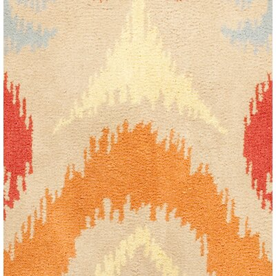 Hand-Tufted Orange/Red Area Rug Rug Size: Round 8