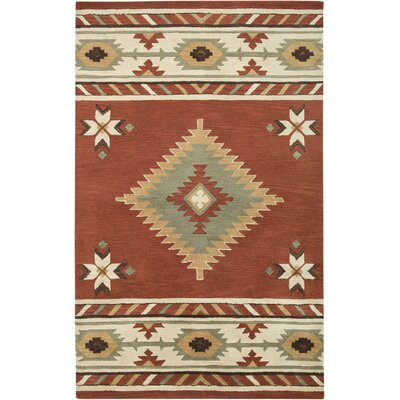 Hand-Tufted Red/Ivory Area Rug Rug Size: 3' x 5'