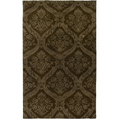 Hand-Tufted Brown Area Rug Rug Size: Round 8'
