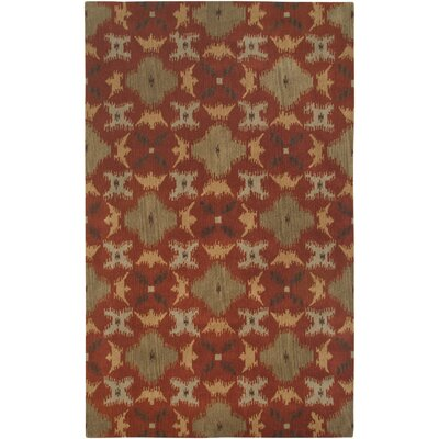Hand-Tufted Rust Area Rug Rug Size: 5 x 8