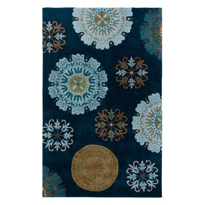 Hand-Tufted Navy Area Rug Rug Size: 8 x 10