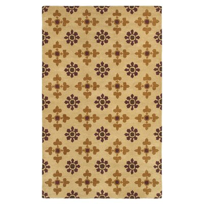 Hand-Tufted Gold Area Rug Rug Size: 3 x 5