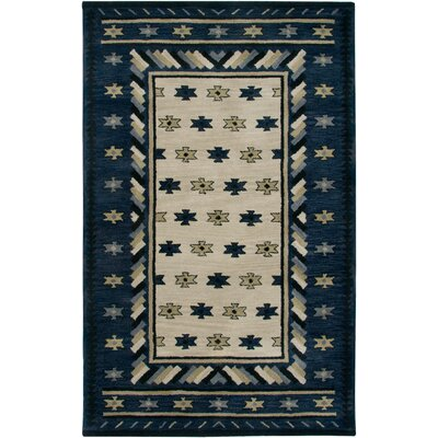Hand-Tufted Blue Area Rug Rug Size: Round 8