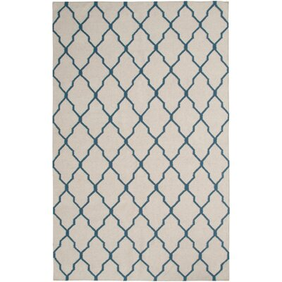 Hand-Woven Beige/Blue Area Rug Rug Size: 3 x 5
