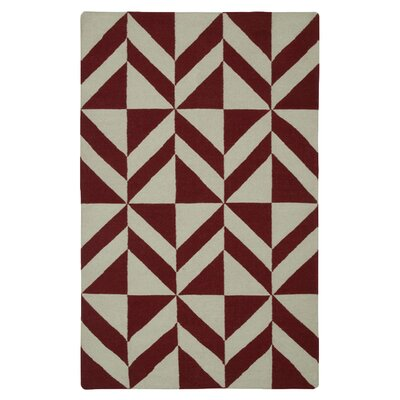 Hand-Woven Beige/Red Area Rug Rug Size: 5 x 8
