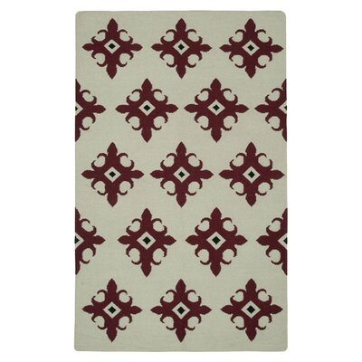 Hand-Woven Beige/Red Area Rug Rug Size: Rectangle 5 x 8