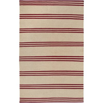 Hand-Woven Red/Beige Area Rug Rug Size: 8 x 10
