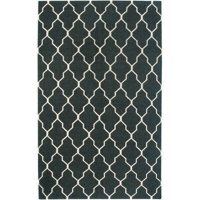 Hand-Woven Black Area Rug Rug Size: Rectangle 8 x 10