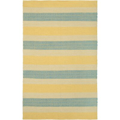 Hand-Woven Gold Area Rug Rug Size: Runner 26 x 8