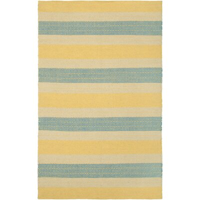 Hand-Woven Gold Area Rug Rug Size: 9 x 12