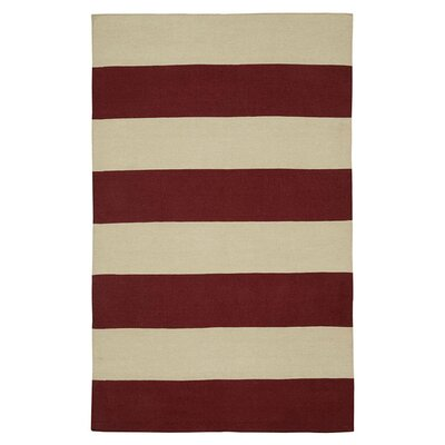 Hand-Woven Red/Ivory Area Rug Rug Size: Rectangle 3 x 5