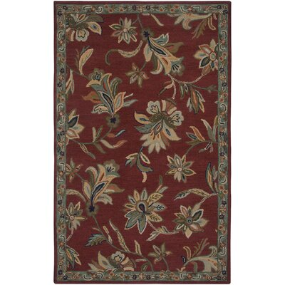 Hand-Tufted Red/Green Area Rug Rug Size: Round 8