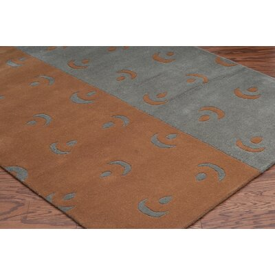 Hand-Tufted Grey/Orange Area Rug Rug Size: Round 8
