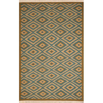Hand-Woven Blue/Tan Area Rug Rug Size: 5 x 8