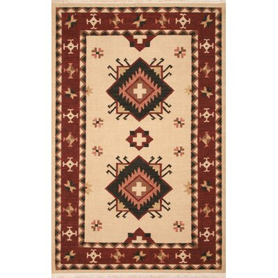 Hand-Woven Beige/Burgundy Area Rug Rug Size: Rectangle 8 x 10