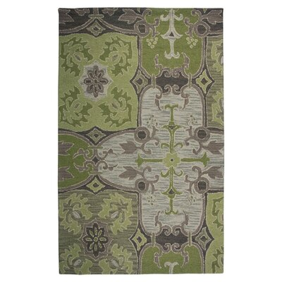 Hand-Tufted Green/Beige Area Rug Rug Size: Rectangle 5 x 8