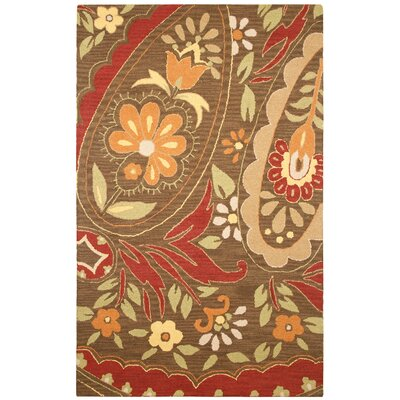 Hand-Tufted Red Area Rug Rug Size: Rectangle 8 x 10