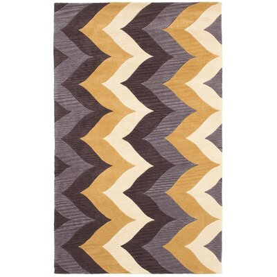 Hand-Tufted Brown/Gold Area Rug Rug Size: Rectangle 3 x 5