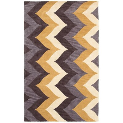 Hand-Tufted Brown/Gold Area Rug Rug Size: Rectangle 8 x 10