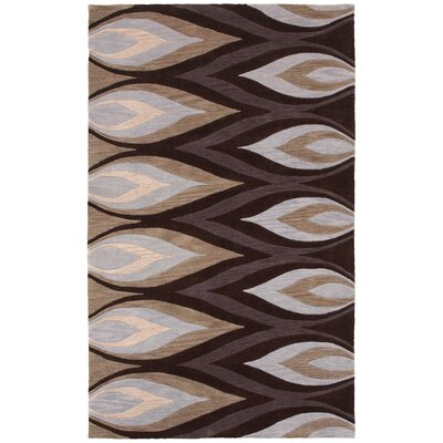 Hand-Tufted Brown/Ivory Area Rug Rug Size: Rectangle 8 x 10