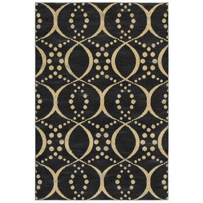 Black/Beige Area Rug Rug Size: Rectangle 910 x 126