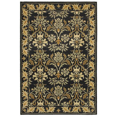 Black/Tan Area Rug Rug Size: Rectangle 53 x 77