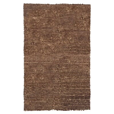 Hand-Hooked Brown Area Rug Rug Size: Rectangle 47 x 77