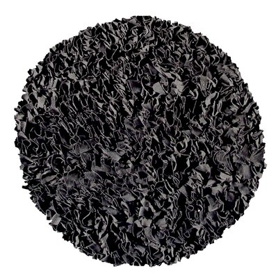 Hand-Woven Black Area Rug Rug Size: Round 4