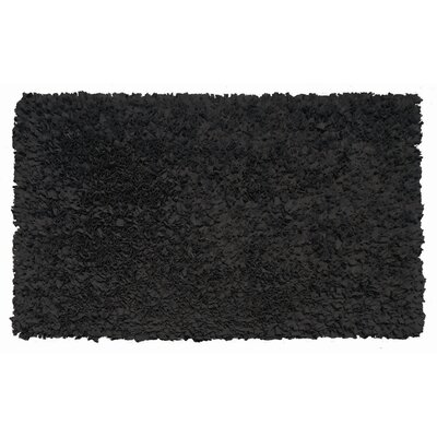 Hand-Woven Black Area Rug Rug Size: 47 x 77