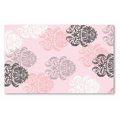 Hand-Hooked Pink/Black Area Rug Rug Size: 47 x 77