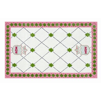 Hand-Hooked White Area Rug Rug Size: Rectangle 47 x 77