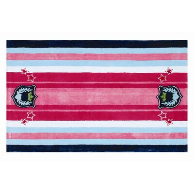 Handmade Pink/Blue Area Rug Rug Size: Rectangle 47 x 77