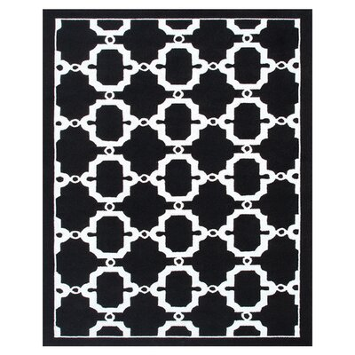 Hand-Woven Black/White Outdoor Area Rug Rug Size: Rectangle 8 x 10