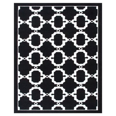 Hand-Woven Black/White Outdoor Area Rug Rug Size: Rectangle 5 x 8