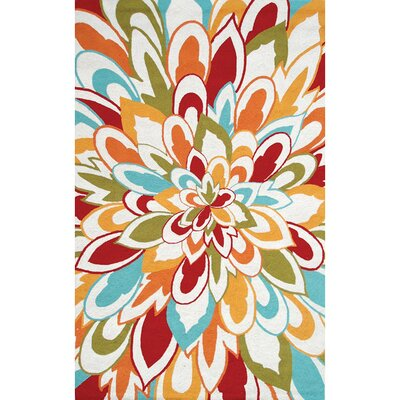 Hand-Hooked Outdoor Area Rug Rug Size: Rectangle 5 x 8