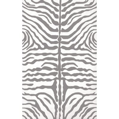 Hand-Hooked Gray/White Indoor/Outdoor Area Rug Rug Size: 5 x 8