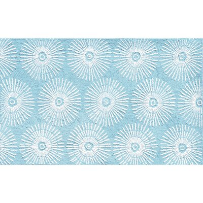 Hand-Hooked Aqua Area Rug Rug Size: Rectangle 28 x 48