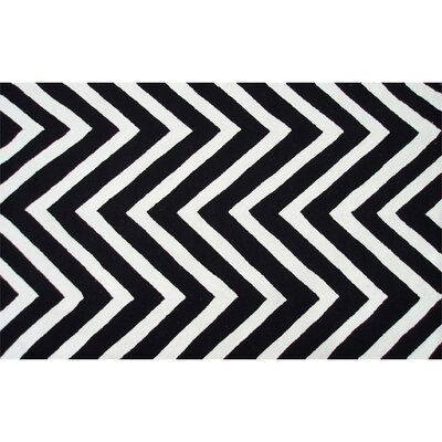 Hand-Hooked Black/White Outdoor Area Rug Rug Size: Rectangle 76 x 96